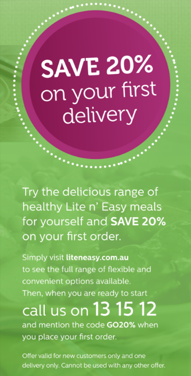 Eat well and get healthy with this special offer from Lite n' Easy to our Go55s.