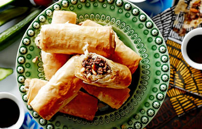 Lamb and Pine Nut Filo Rolls