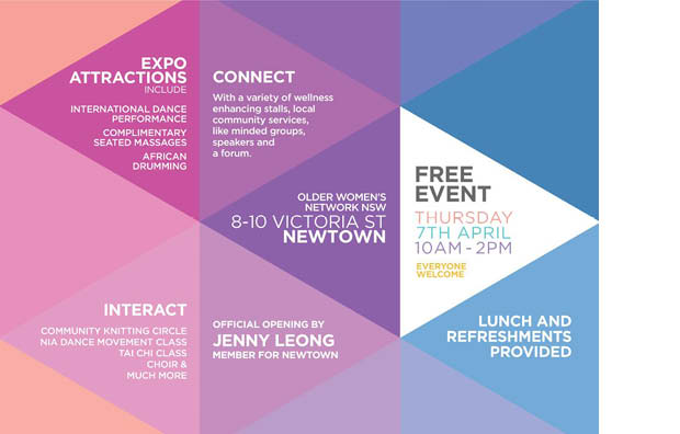 Connecting well a free wellness expo for older women go55s as part of seniors week the older womens network nsw together with our community partners invite you to attend connecting well a free wellness expo solutioingenieria Choice Image