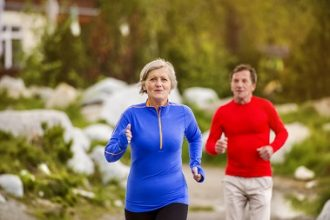 over 55s couple running